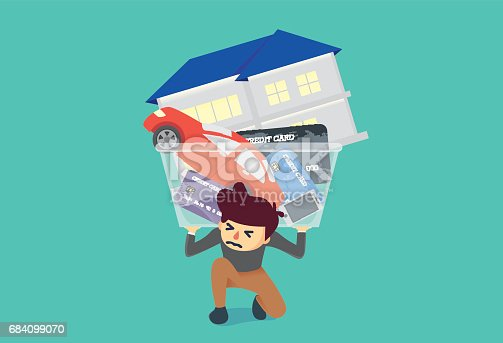 istock Man kneeling on the floor because have too much debt 684099070