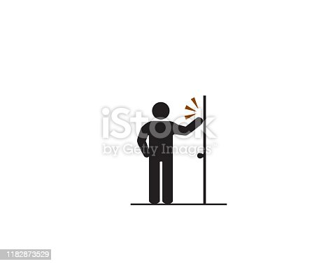 Man knock the door, Accident Prevention signs, beware and careful rhombus Sign, suggestion symbol, help sign and assistance symbol design concept, vector illustration.