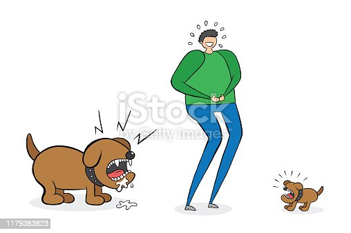 Man laughing small dog but he doesn't see the big dog behind him. You'il be crying in fear. Vector illustration. Black outlines, colored and white background.