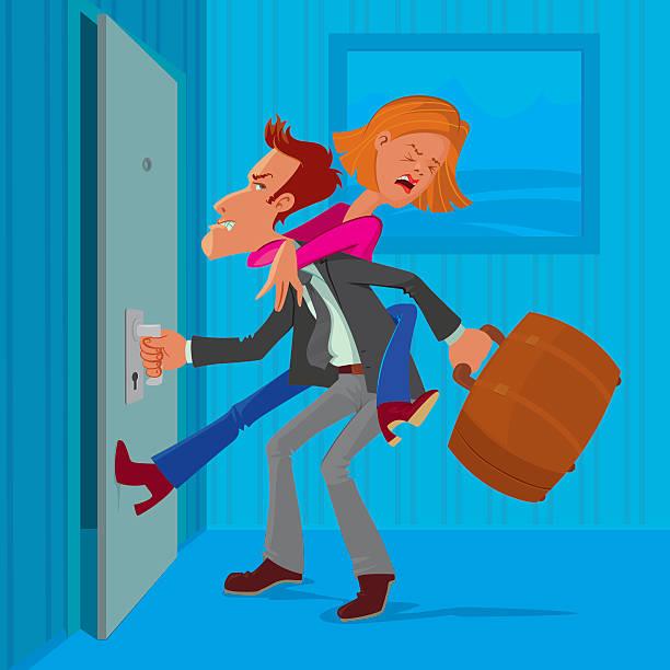 stockillustraties, clipart, cartoons en iconen met man leaves his wife - couple fighting home