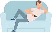 Man lies on a sofa and holds a TV remote in his hands bad habit illustration