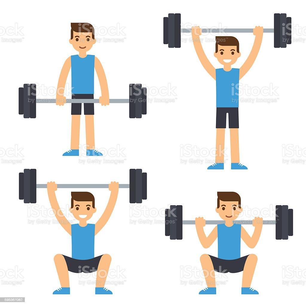 Man lifting barbell vector art illustration