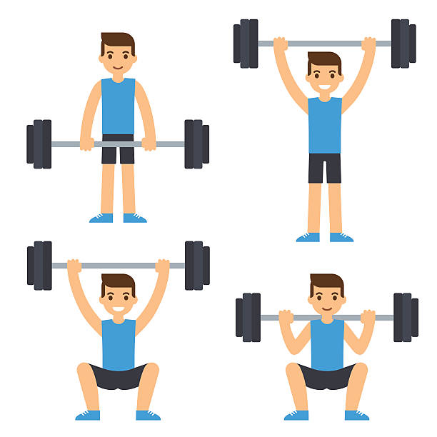 Man lifting barbell vector art illustration