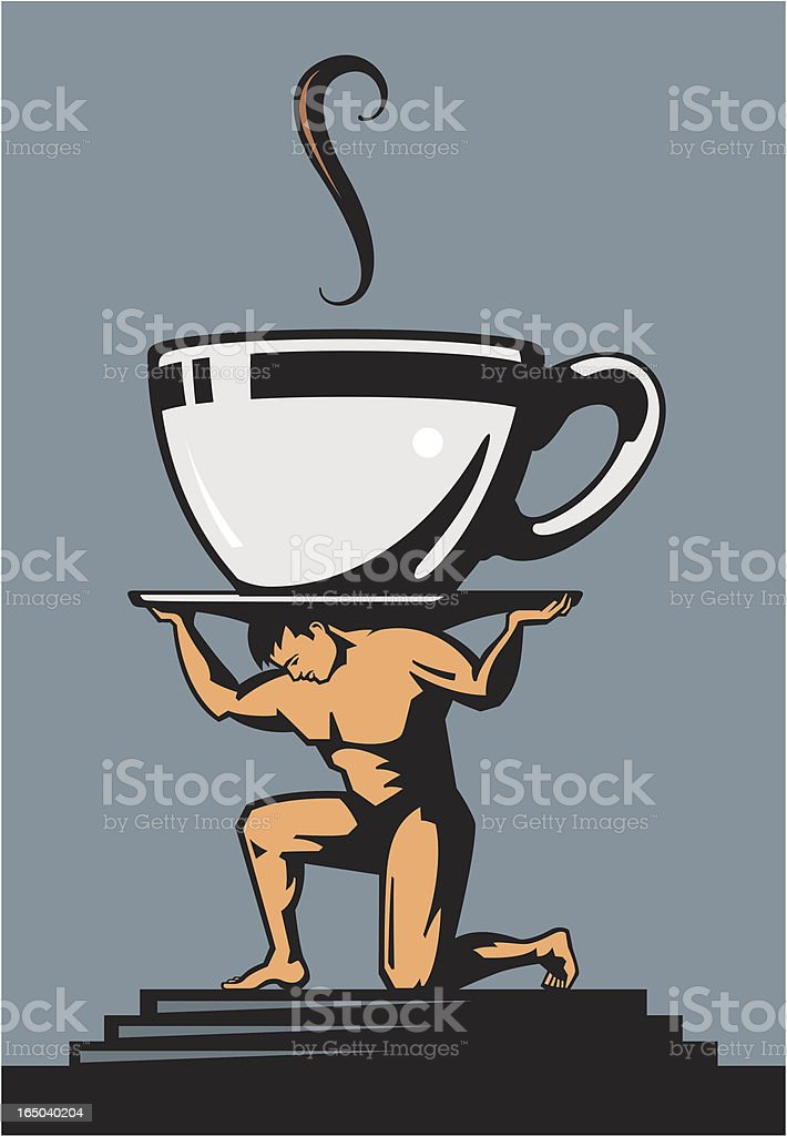 Man Lifting Coffee Cup royalty-free stock vector art