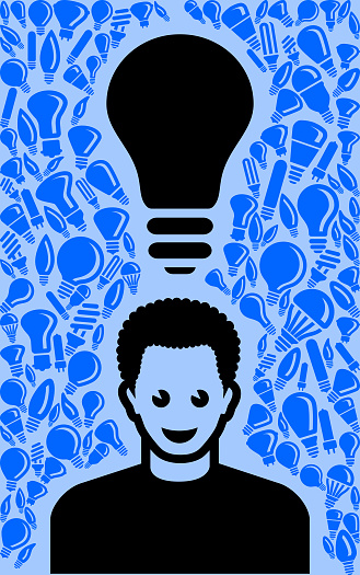 Man Light Bulb Blue Vector Background Pattern