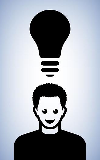 Man Light bulb Conceptual Vector Illustration