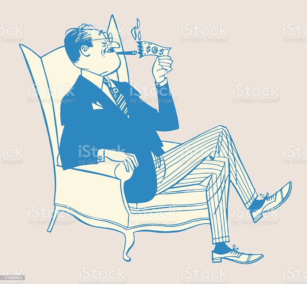 Man Lighting Cigar With Money vector art illustration