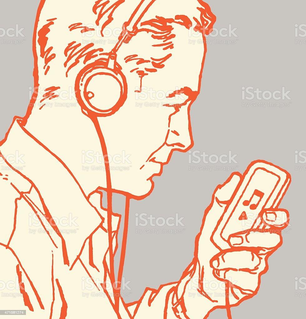 Man Listening to Ipod vector art illustration