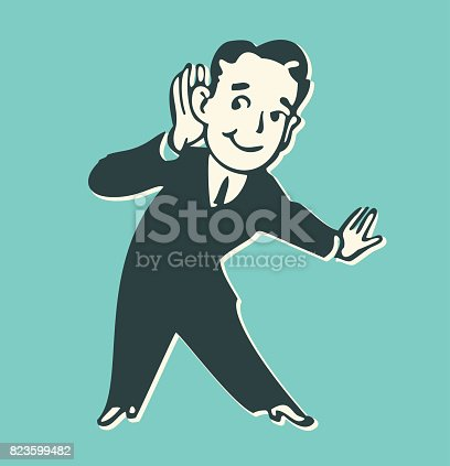 Retro style illustration of a man listening with hand.