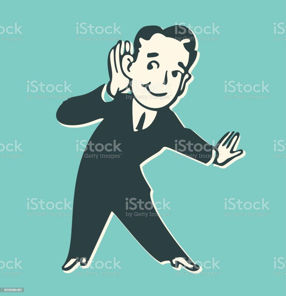 Man listening with hand. vector art illustration