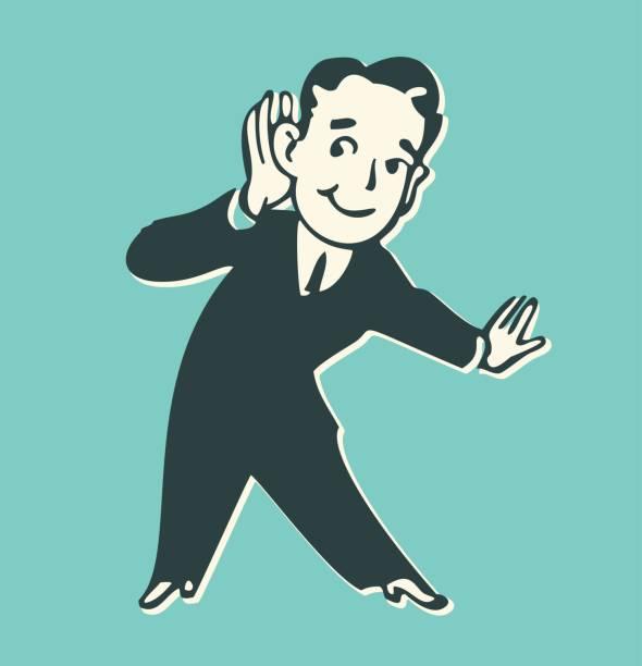 bildbanksillustrationer, clip art samt tecknat material och ikoner med man lyssnar med handen. - listen