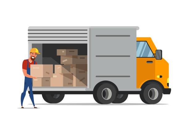 stockillustraties, clipart, cartoons en iconen met man laden dozen in van platte illustratie - warehouse worker