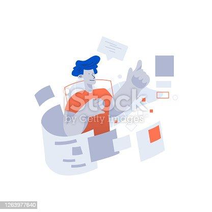 Man login into futuristic web browser hologram interface. Technology vector concept illustration