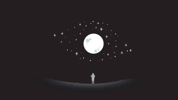 人類仰望天空藝術 - 月亮 幅插畫檔、美工圖案、卡通及圖標