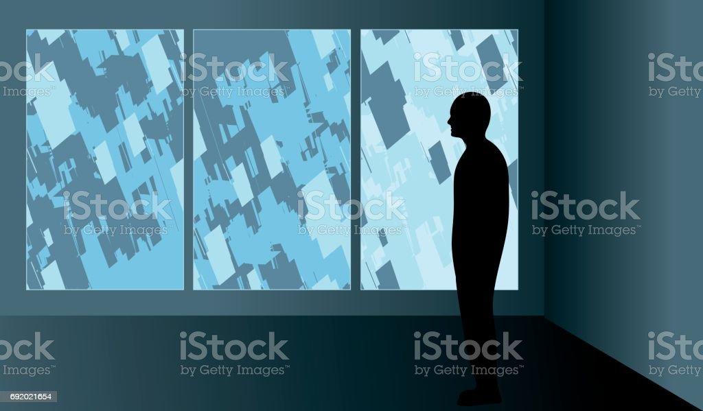 Man looking at art in a gallery vector art illustration