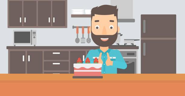 mann, ein blick auf kuchen - küchensystem stock-grafiken, -clipart, -cartoons und -symbole