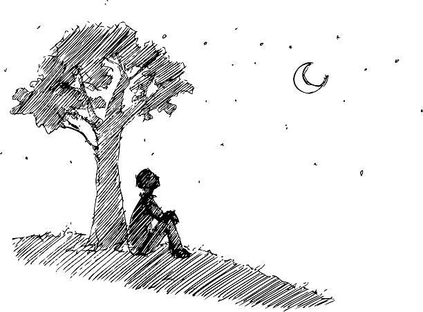 stockillustraties, clipart, cartoons en iconen met man looking at the moon - solitair