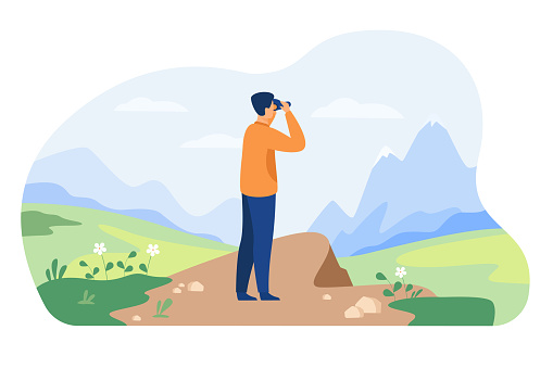 Man looking faraway through binoculars, admiring mature, exploring new goals and opportunities. Vector illustration for adventure, hiking, exploration, travel concept