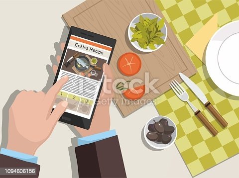 Man looking for a cooking recipe on the phone. Recipe on website. Vector Illustration