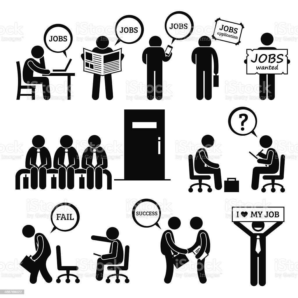 Man Looking for Job Employment and Interview vector art illustration