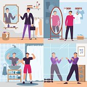 Man looking in mirror. Vector illustration set. Handsome man in gym or fitting room. Fashion glamour clothes