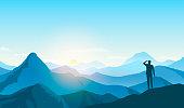 man looking landscape, business goal, vector illustration