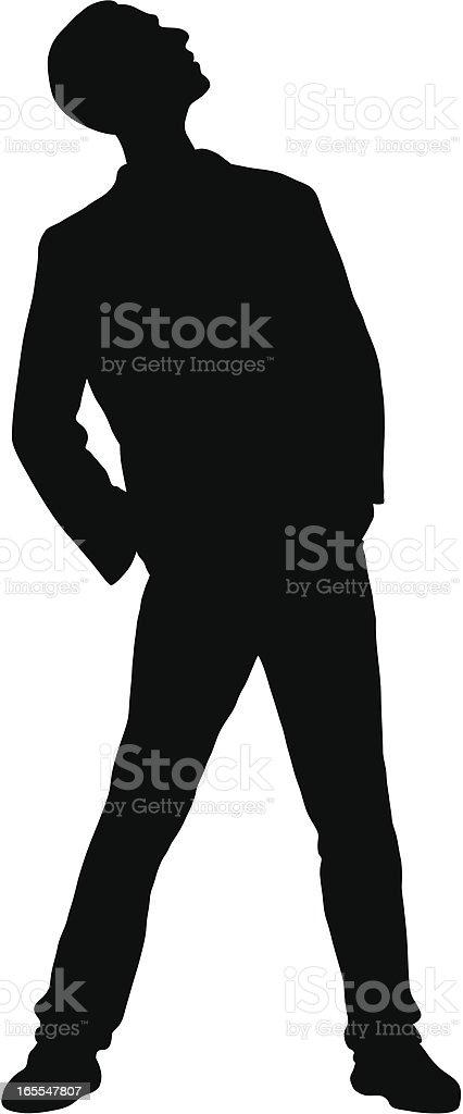Man Looking Up vector art illustration