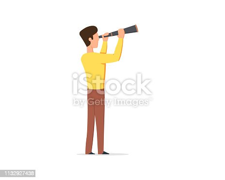 man looks through a telescope into the future. Vector illustration in flat style isolated on white background.
