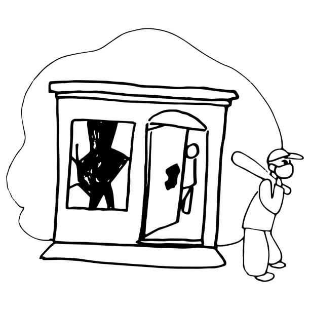 ilustraciones, imágenes clip art, dibujos animados e iconos de stock de man tienda de saqueos, cartel de blm con robo de la tienda en el fondo blanco aislado. - civil rights
