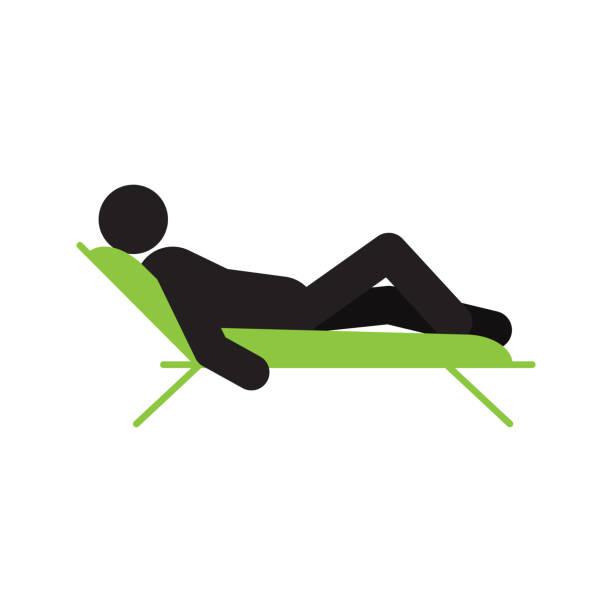 illustrations, cliparts, dessins animés et icônes de homme étendu dans une icône de la chaise - transat