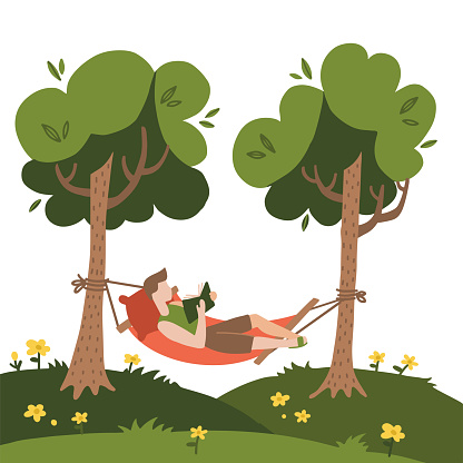 Man lying in a hammock and reading book. Hammock hanging between green trees. Flat hand drawn vector Illustration on a white background. Summer camping concept