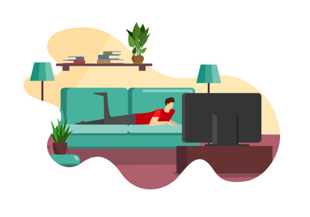 illustrazioni stock, clip art, cartoni animati e icone di tendenza di man lying on couch in front of television screen - divano procrastinazione