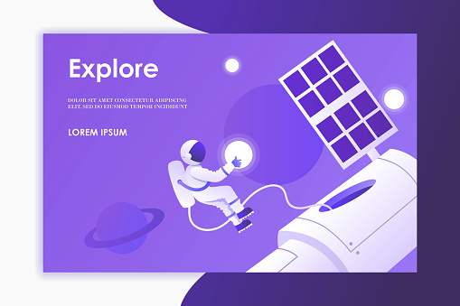 Man makes a spacewalk. Astronaut, planets, space, universe, sky. Modern template for web page, landing page, presentation, banner. Purple background. Place for text. Vector illustration. EPS 10