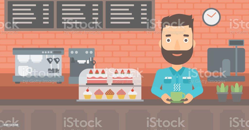 Hombre hacer café - ilustración de arte vectorial