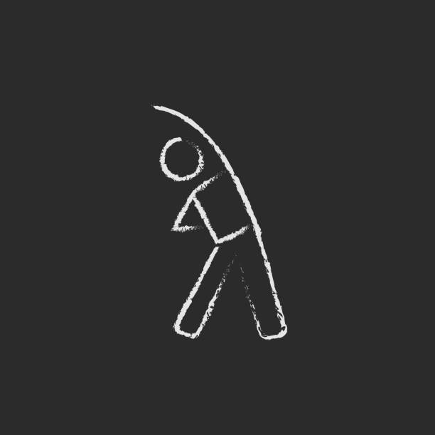 Man making exercises icon drawn in chalk vector art illustration