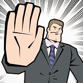 Vector illustration – Man Making Stop Gesture! No! Halt! Wait! Caution!