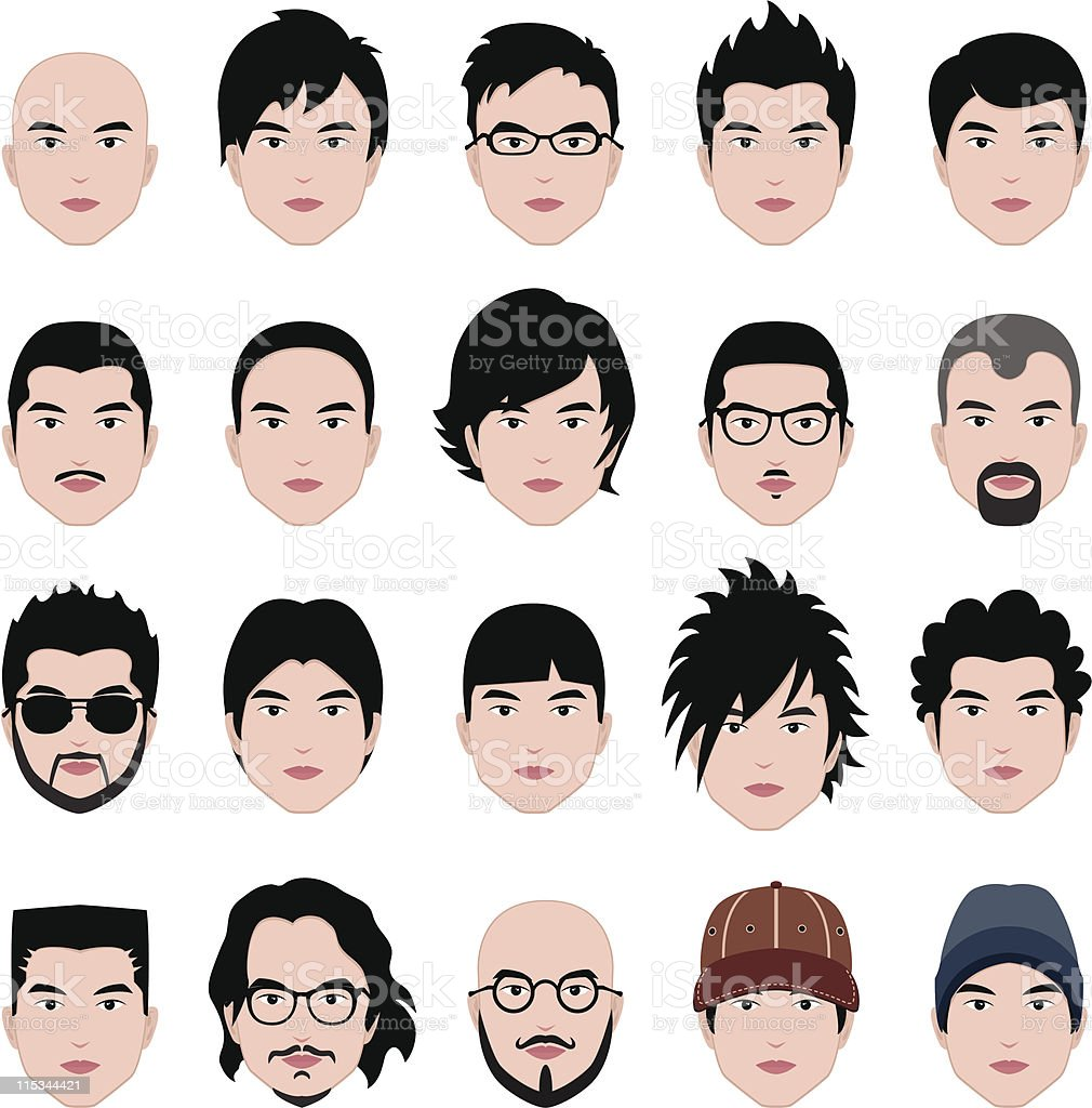 Man Male Human Face Head Hair Hairstyle Mustache Bald People vector art illustration