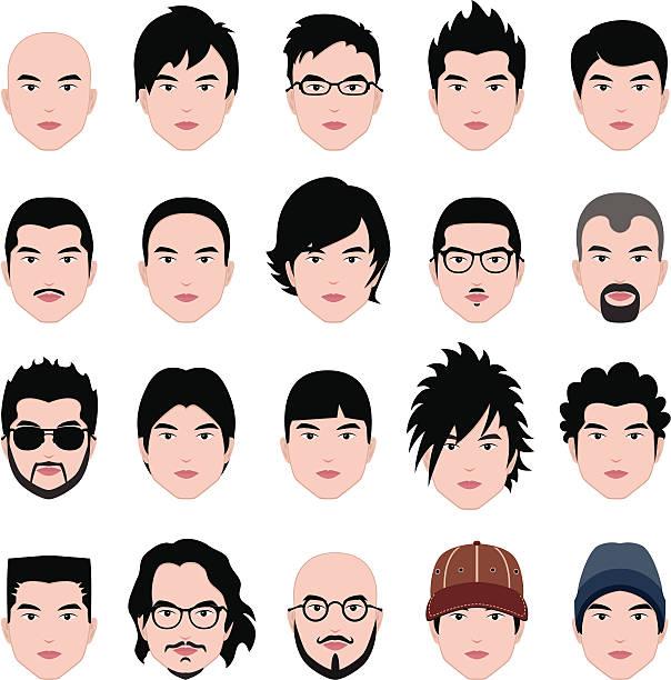 stockillustraties, clipart, cartoons en iconen met man male human face head hair hairstyle mustache bald people - kaal geschoren hoofd
