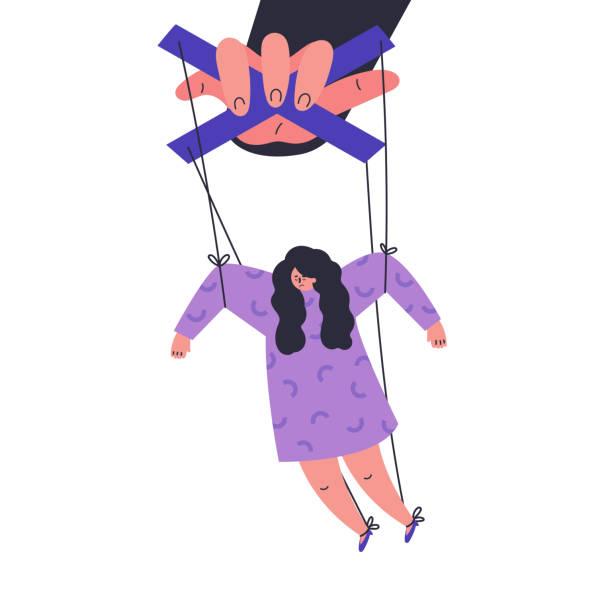 bildbanksillustrationer, clip art samt tecknat material och ikoner med en man manipulerar och misshandlar en kvinna. giftiga människor - par mänskliga relationer