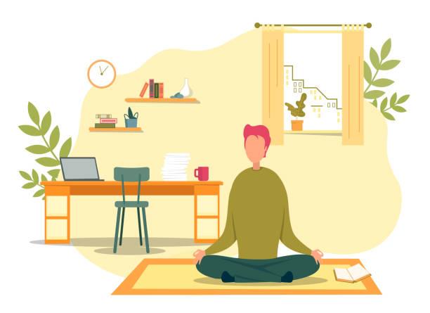 stockillustraties, clipart, cartoons en iconen met man mediteren zittend in lotus positie op de vloer - geestelijk welzijn