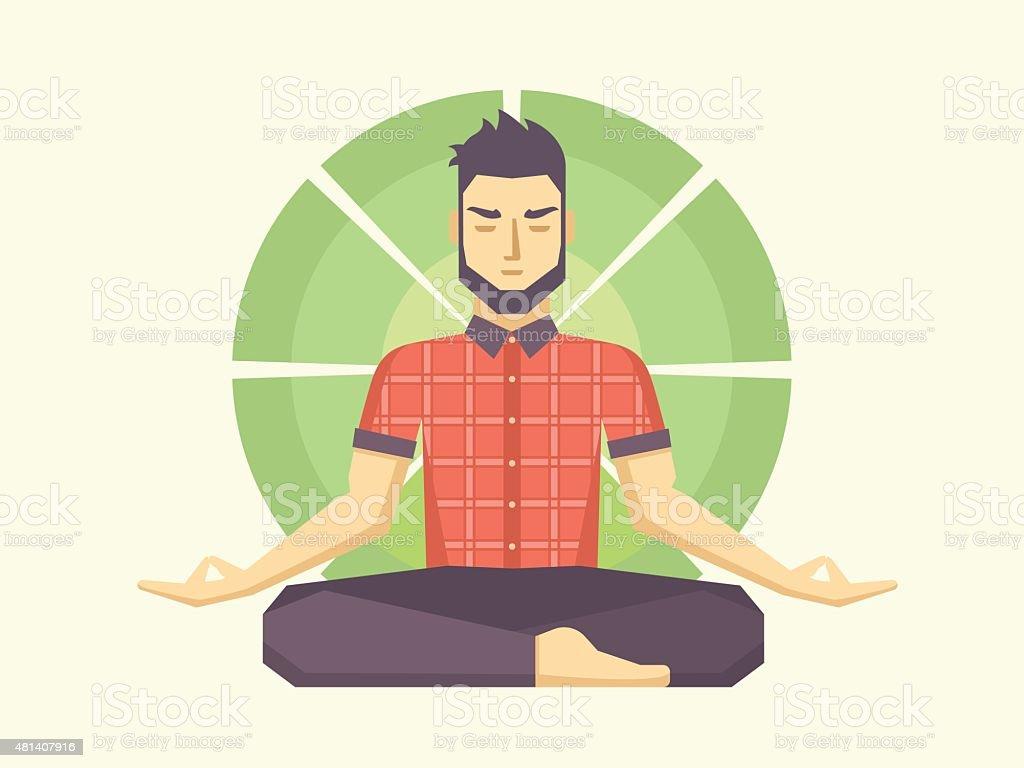 Man meditates in the Lotus position vector art illustration