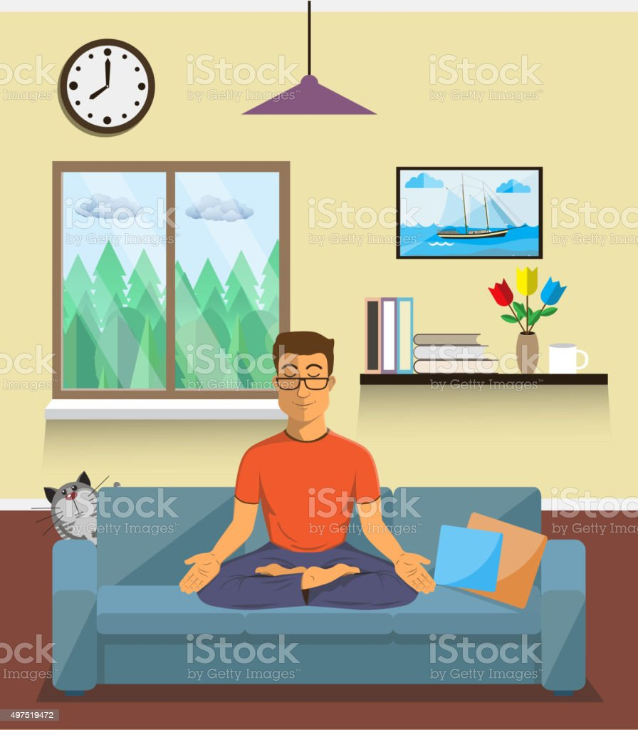 Man meditates in the yoga Lotus position. Home interior. vector art illustration