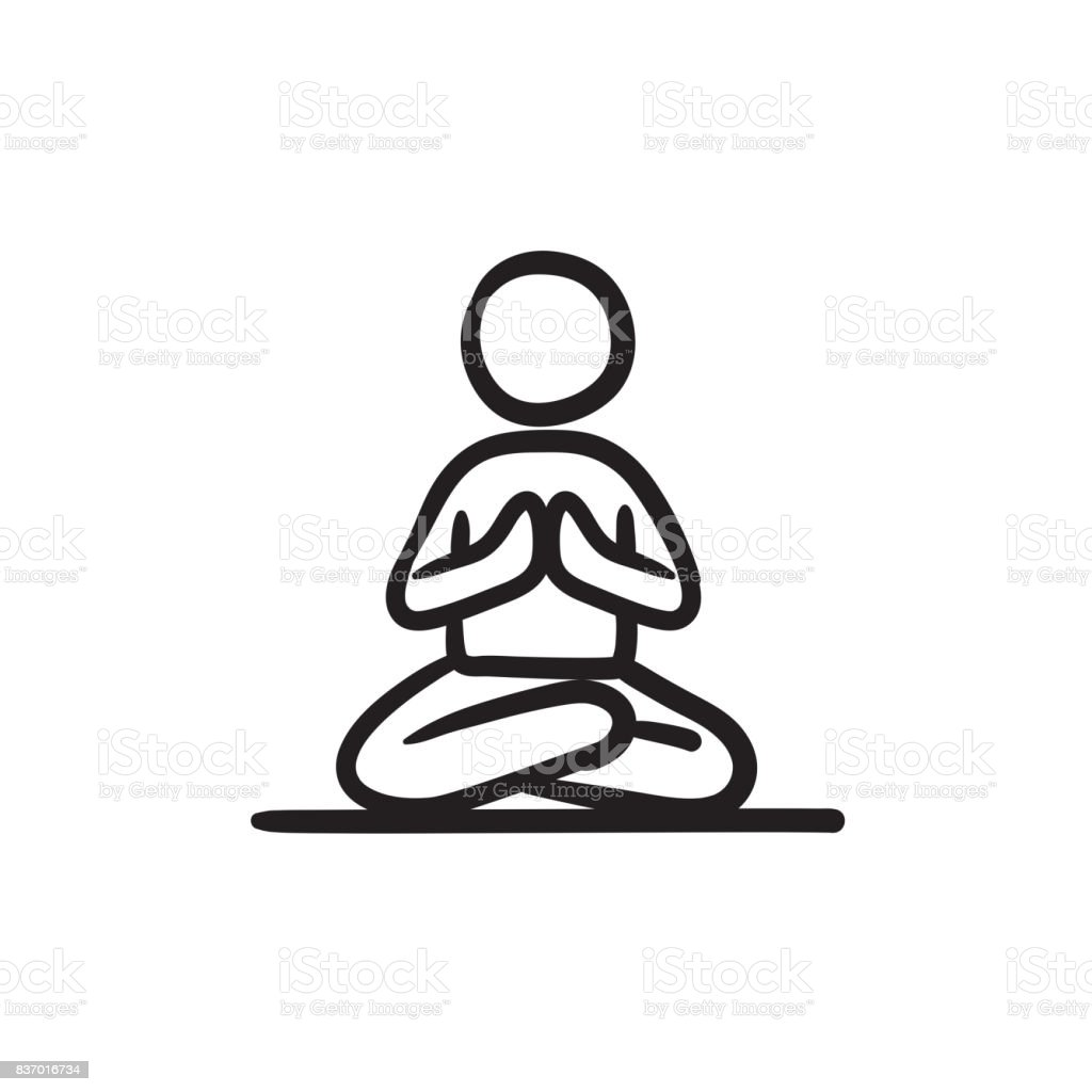 Man meditating in lotus pose sketch icon vector art illustration