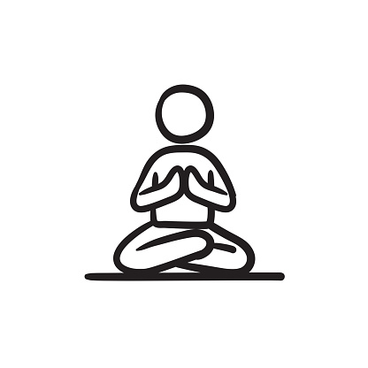 Man Meditating In Lotus Pose Sketch Icon Stock ...