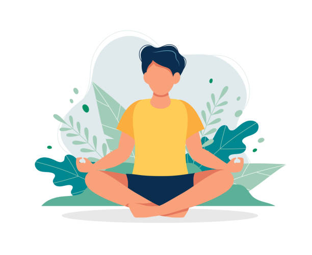 man meditating in nature and leaves. concept illustration for yoga, meditation, relax, recreation, healthy lifestyle. vector illustration in flat cartoon style - meditating stock illustrations