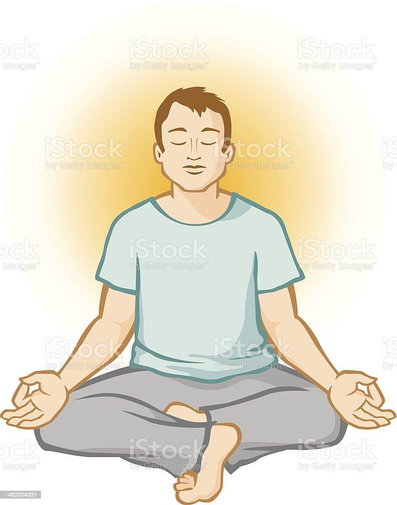 Man Meditating (Aura Background) royalty-free stock vector art