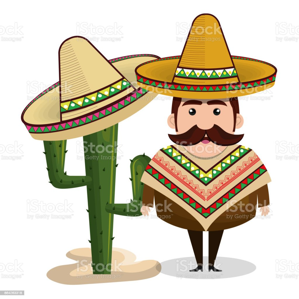 man mexican hat cactus graphic royalty-free man mexican hat cactus graphic stock vector art & more images of adult