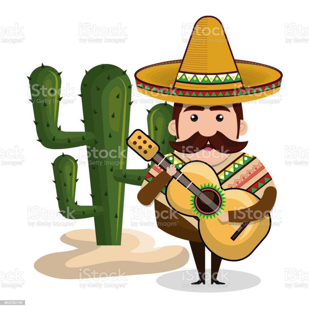 Ilustración De Hombre Mexicano Con Guitarra Y Cactus Gráfico Y Más