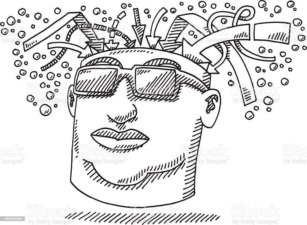 Man Mind Input Arrow Concept Drawing vector art illustration