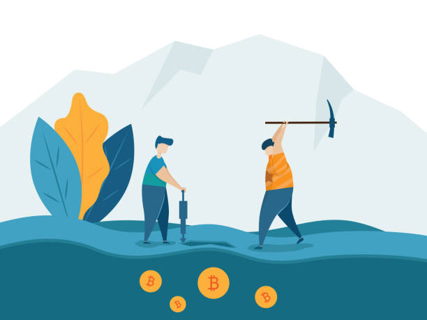 man mining for bitcoins crypto currency concept vector art illustration